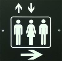 elevator sign that looks like a restroom sign