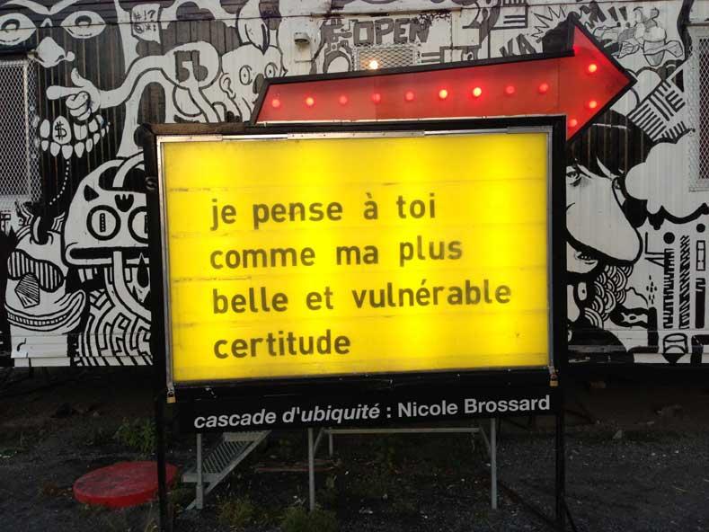 Nicole Brossard installation