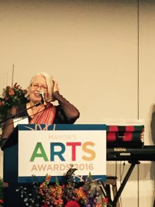 Jonína Kirton at the Mayor's Arts Awards 2016