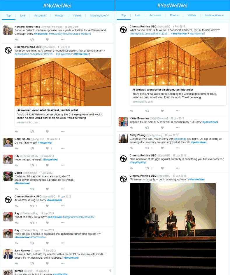 Screen shot of Twitter feed